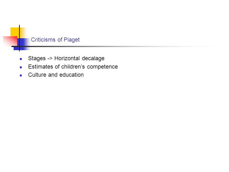Criticisms of Piaget Stages -> Horizontal decalage Estimates of children's competence Culture and education