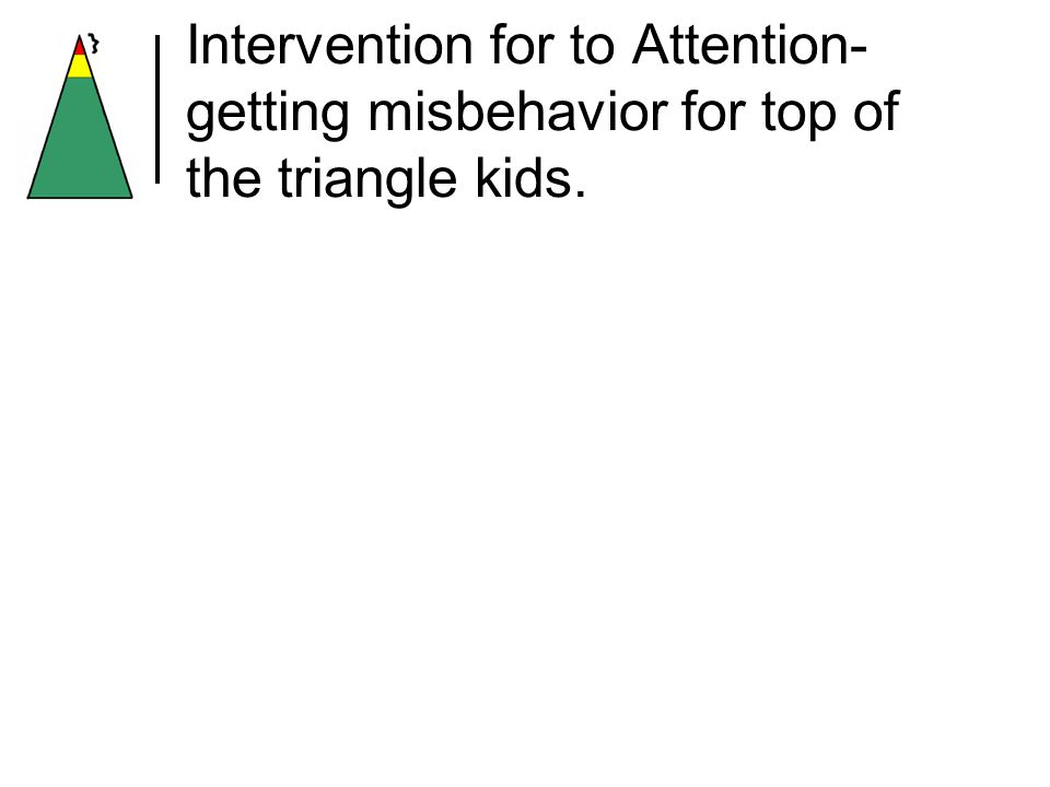 Intervention for to Attention- getting misbehavior for top of the triangle kids.