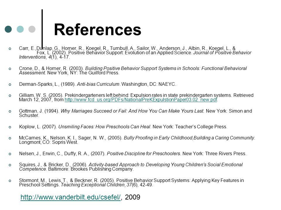 References Carr, E.,Dunlap, G., Horner, R., Koegel, R., Turnbull, A., Sailor, W., Anderson, J., Albin, R., Koegel, L., & Fox, L.
