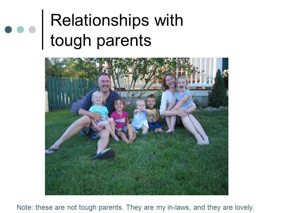 Relationships with tough parents Note: these are not tough parents.