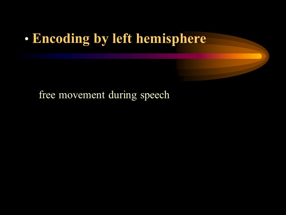 Encoding by left hemisphere free movement during speech