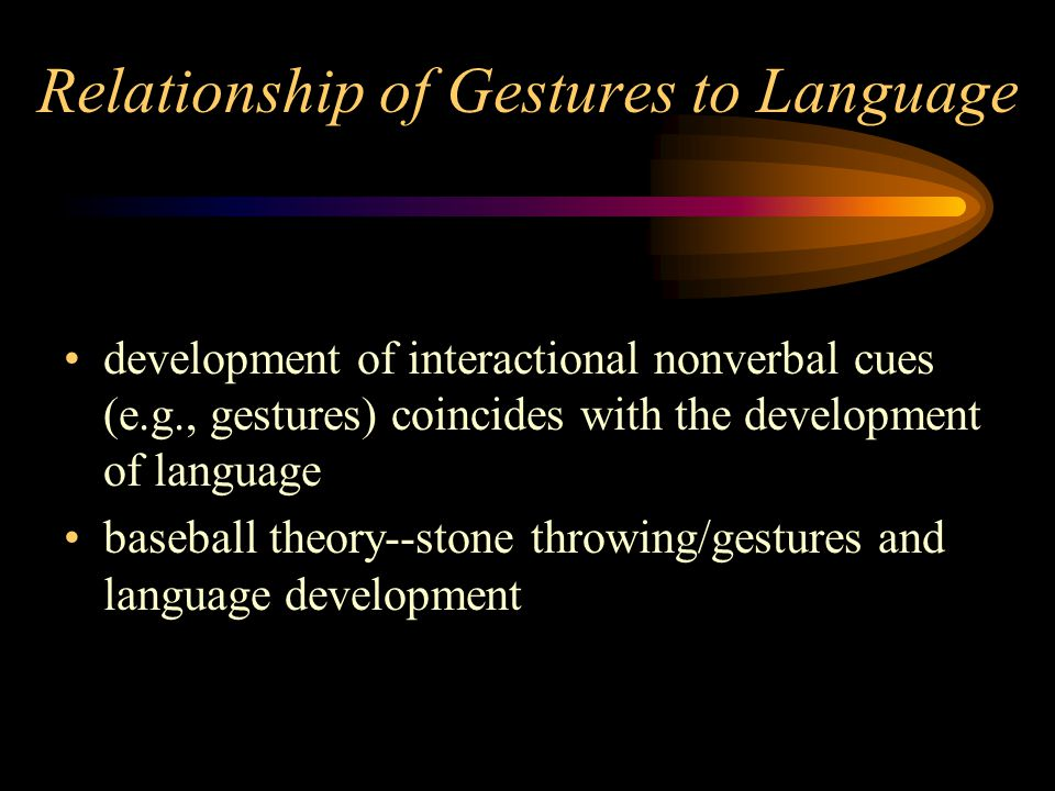 Relationship of Gestures to Language development of interactional nonverbal cues (e.g., gestures) coincides with the development of language baseball theory--stone throwing/gestures and language development