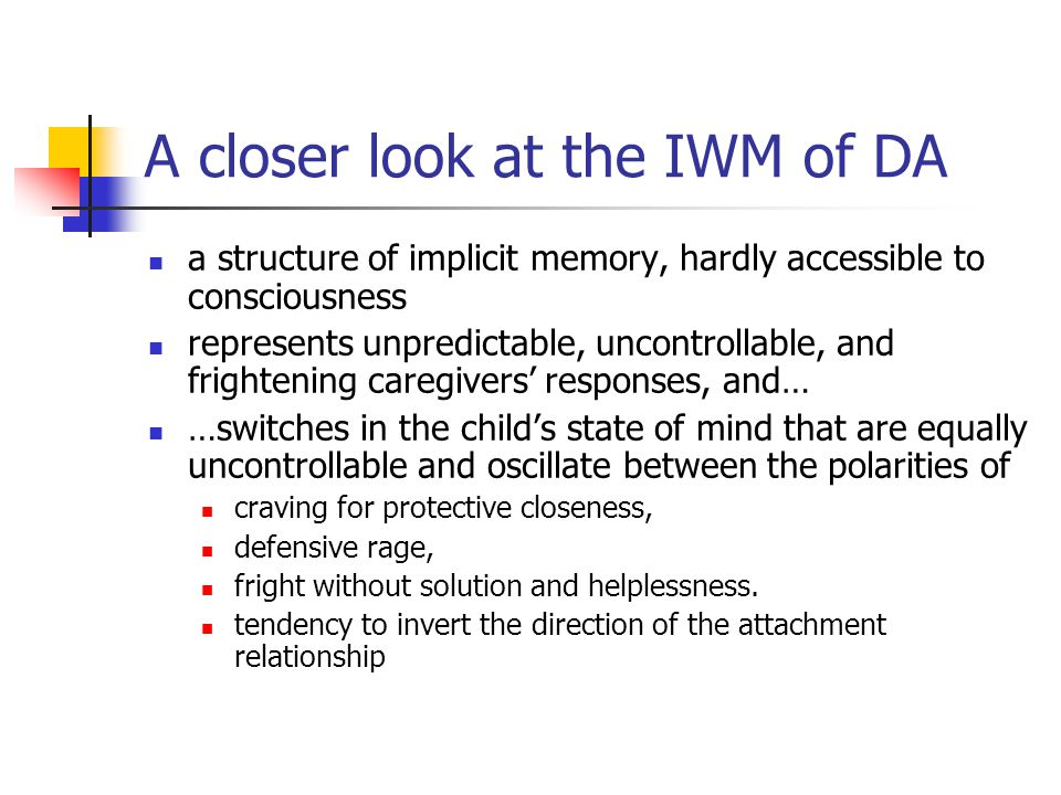 A closer look at the IWM of DA a structure of implicit memory, hardly accessible to consciousness represents unpredictable, uncontrollable, and frightening caregivers' responses, and… …switches in the child's state of mind that are equally uncontrollable and oscillate between the polarities of craving for protective closeness, defensive rage, fright without solution and helplessness.