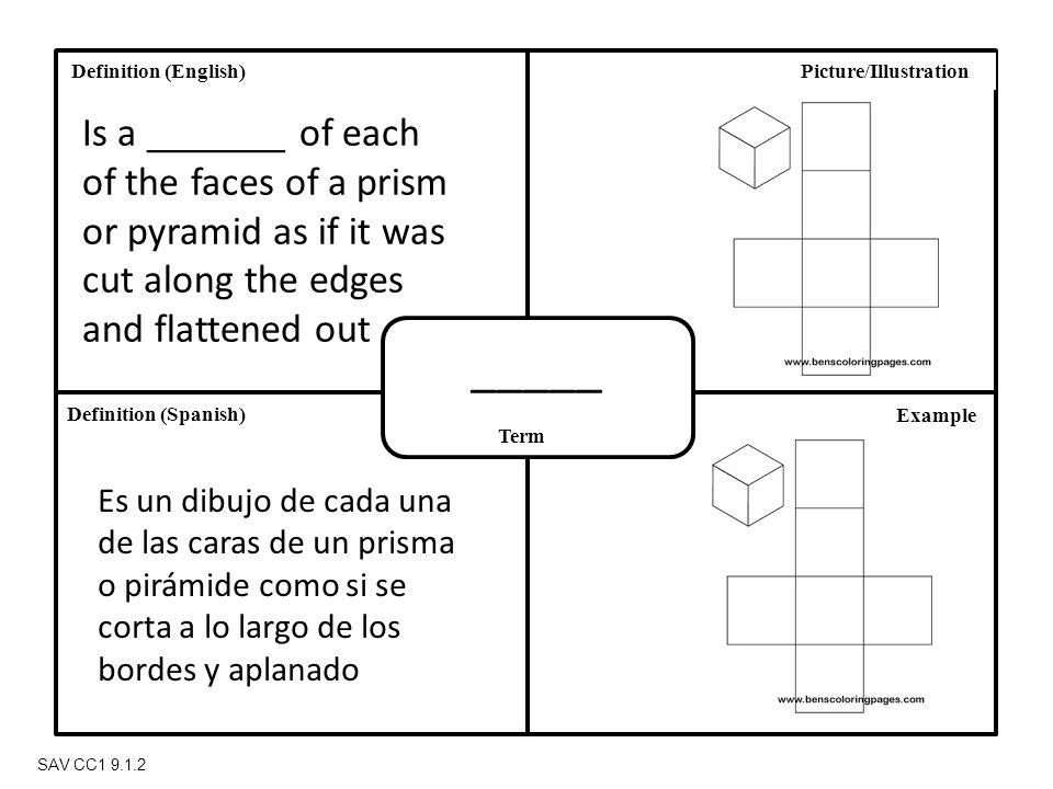 Definition (Spanish) Definition (English) Term Picture/Illustration Example SAV CC1 9.1.2 _____ Is a _______ of each of the faces of a prism or pyramid as if it was cut along the edges and flattened out Es un dibujo de cada una de las caras de un prisma o pirámide como si se corta a lo largo de los bordes y aplanado