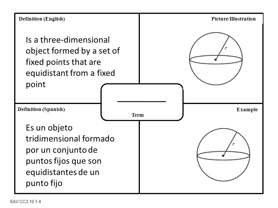 Definition (Spanish) Definition (English) Term Picture/Illustration Example SAV CC3 10.1.4 _______ Is a three-dimensional object formed by a set of fixed points that are equidistant from a fixed point Es un objeto tridimensional formado por un conjunto de puntos fijos que son equidistantes de un punto fijo