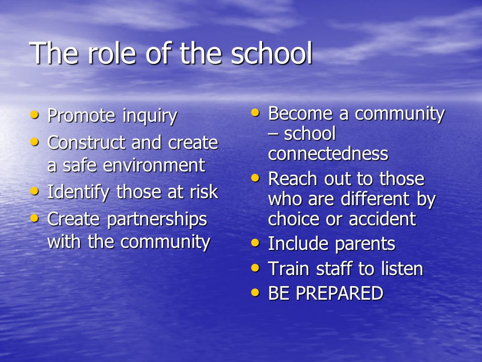 The role of the school Promote inquiry Promote inquiry Construct and create a safe environment Construct and create a safe environment Identify those