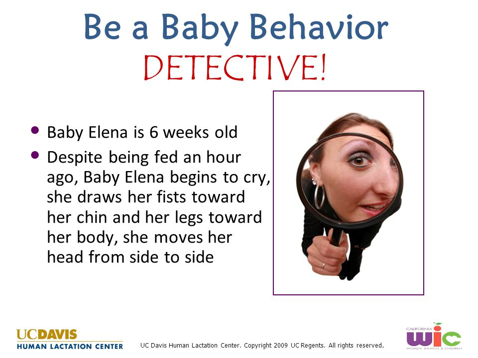 UC Davis Human Lactation Center. Copyright 2009 UC Regents. All rights reserved. Be a Baby Behavior DETECTIVE! Baby Elena is 6 weeks old Despite being