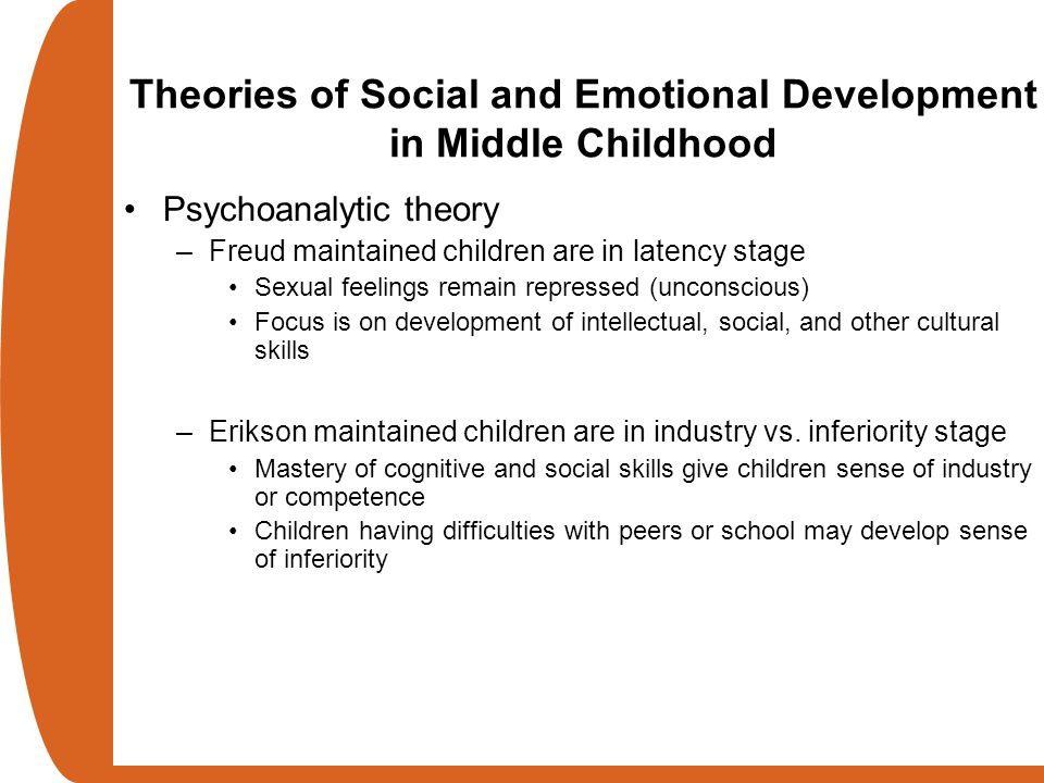 Psychoanalytic theory –Freud maintained children are in latency stage Sexual feelings remain repressed (unconscious) Focus is on development of intell