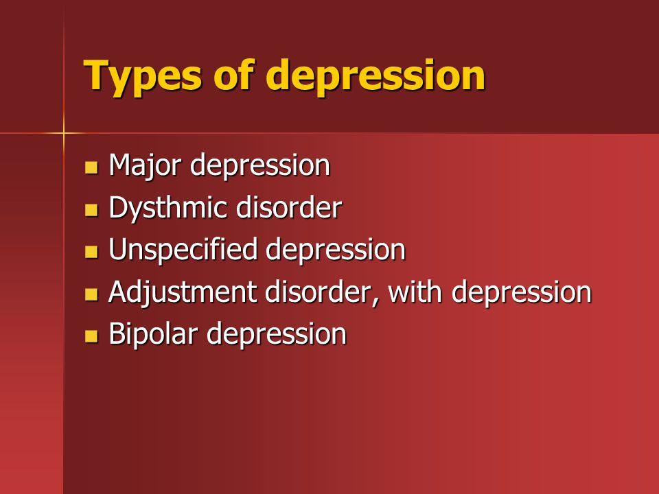Types of depression Major depression Major depression Dysthmic disorder Dysthmic disorder Unspecified depression Unspecified depression Adjustment dis