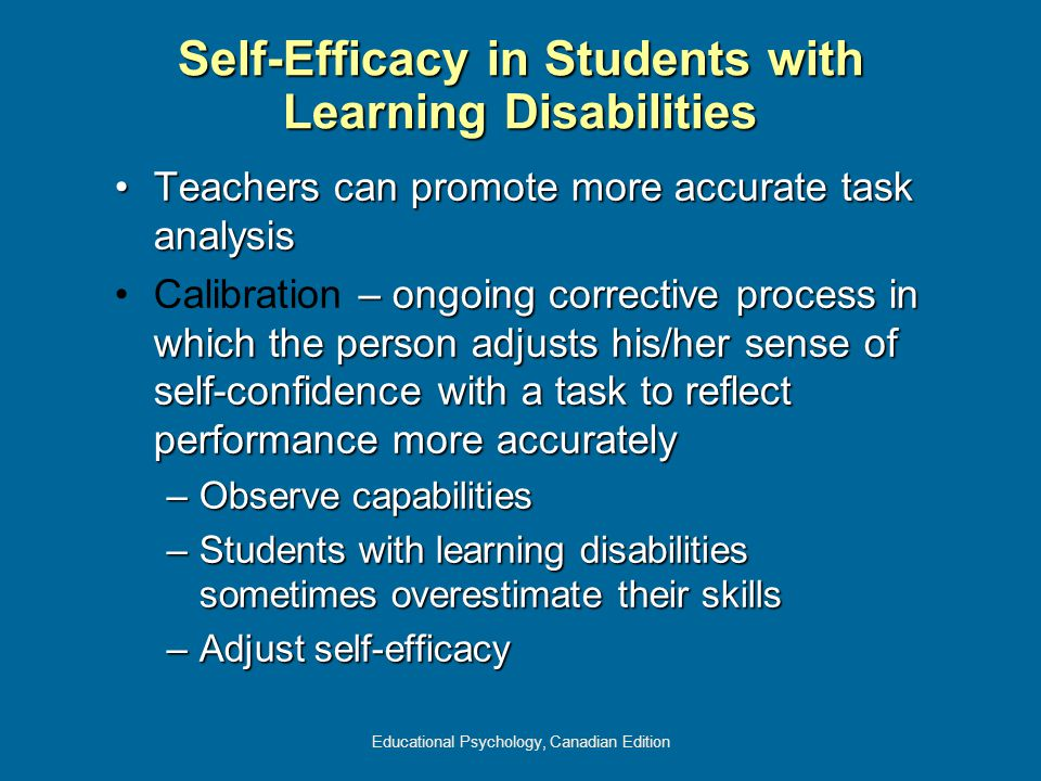 Educational Psychology, Canadian Edition Self-Efficacy in Students with Learning Disabilities Teachers can promote more accurate task analysisTeachers