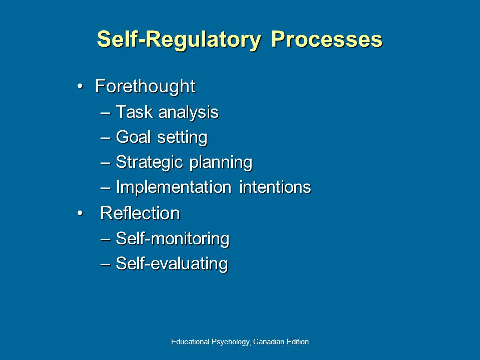Educational Psychology, Canadian Edition Self-Regulatory Processes ForethoughtForethought –Task analysis –Goal setting –Strategic planning –Implementation intentions Reflection Reflection –Self-monitoring –Self-evaluating
