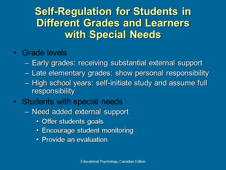 Educational Psychology, Canadian Edition Self-Regulation for Students in Different Grades and Learners with Special Needs Grade levels –Early grades: receiving substantial external support –Late elementary grades: show personal responsibility –High school years: self-initiate study and assume full responsibility Students with special needs –Need added external support Offer students goalsOffer students goals Encourage student monitoringEncourage student monitoring Provide an evaluationProvide an evaluation