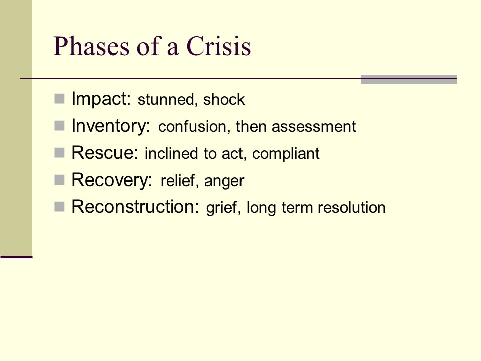 Phases of a Crisis Impact: stunned, shock Inventory: confusion, then assessment Rescue: inclined to act, compliant Recovery: relief, anger Reconstruction: grief, long term resolution