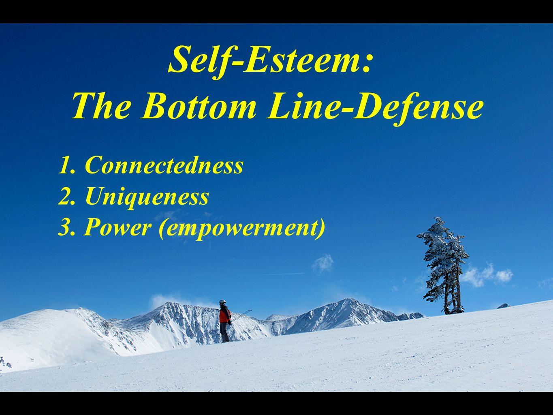 Self-Esteem: The Bottom Line-Defense 1. Connectedness 2. Uniqueness 3. Power (empowerment)