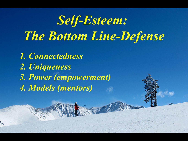 Self-Esteem: The Bottom Line-Defense 1. Connectedness 2.