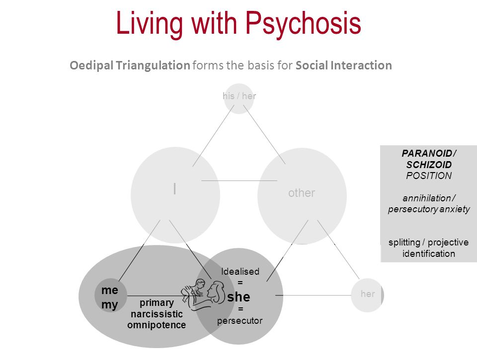 Oedipal Triangulation forms the basis for Social Interaction I other her his / her me my she primary narcissistic omnipotence = persecutor PARANOID / SCHIZOID POSITION annihilation / persecutory anxiety splitting / projective identification Idealised = Living with Psychosis