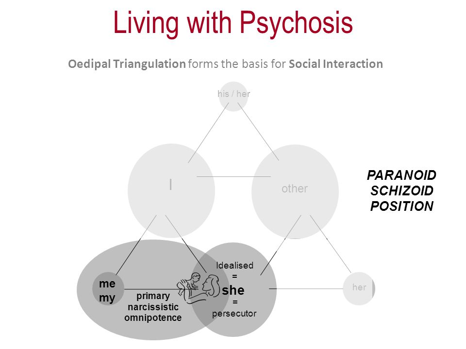 Oedipal Triangulation forms the basis for Social Interaction I other her his / her me my she primary narcissistic omnipotence = persecutor Idealised = PARANOID SCHIZOID POSITION Living with Psychosis