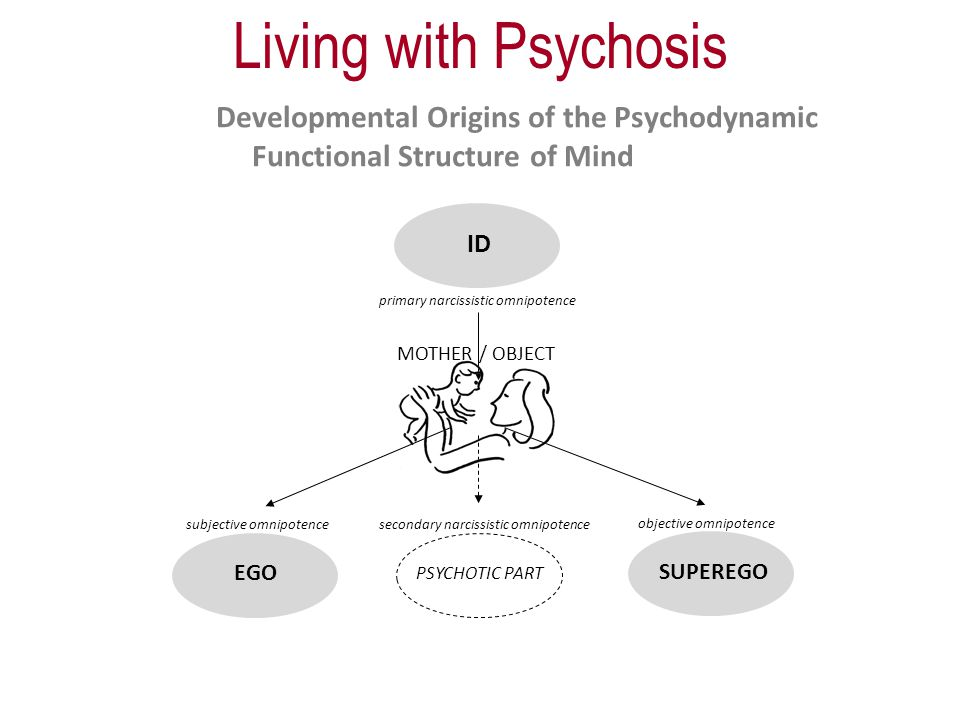 ID primary narcissistic omnipotence MOTHER / OBJECT subjective omnipotence objective omnipotence secondary narcissistic omnipotence EGO SUPEREGO PSYCHOTIC PART Developmental Origins of the Psychodynamic Functional Structure of Mind Living with Psychosis