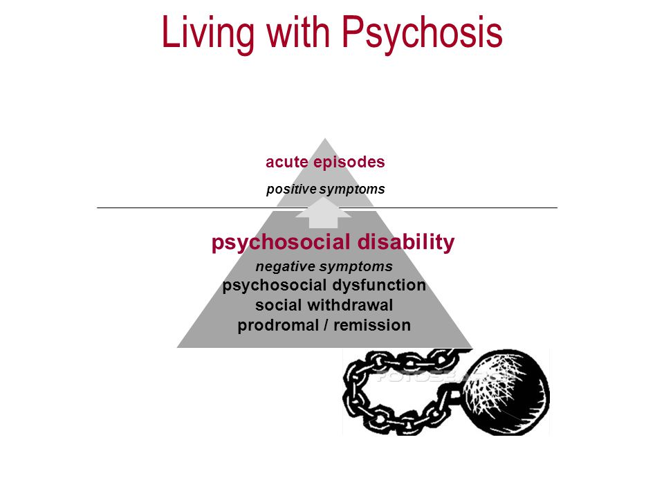 positive symptoms negative symptoms psychosocial dysfunction social withdrawal prodromal / remission acute episodes psychosocial disability Living with Psychosis