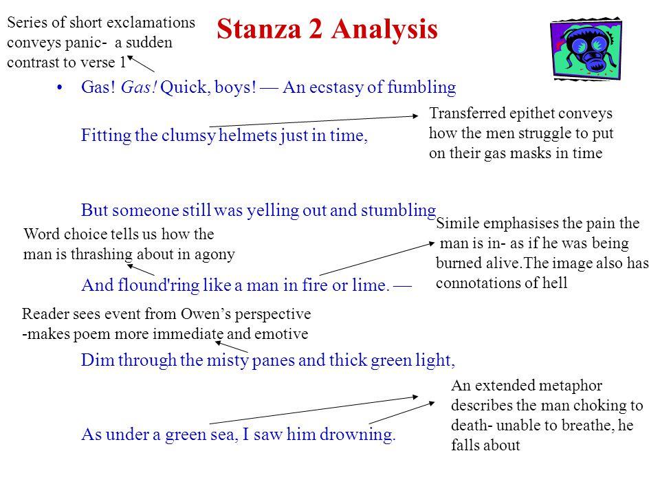Stanza 2 Analysis Gas. Gas. Quick, boys.