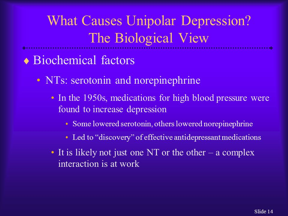 Slide 14 What Causes Unipolar Depression.