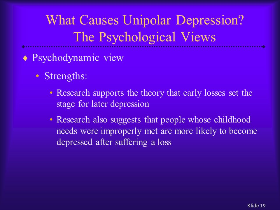Slide 19 What Causes Unipolar Depression.