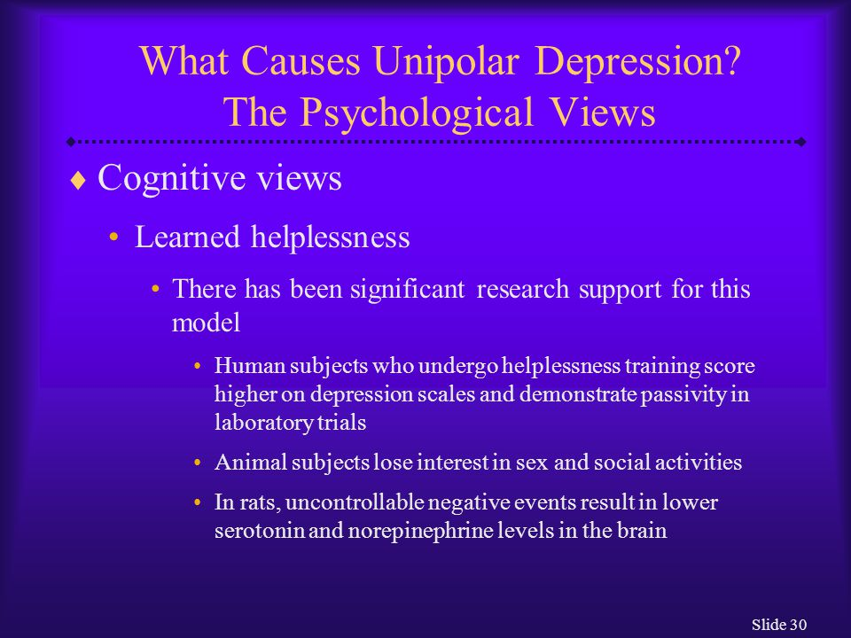 Slide 30 What Causes Unipolar Depression.