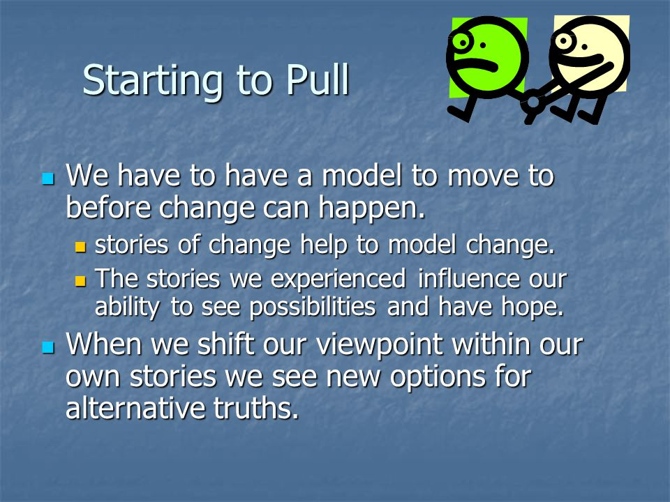 Starting to Pull We have to have a model to move to before change can happen.