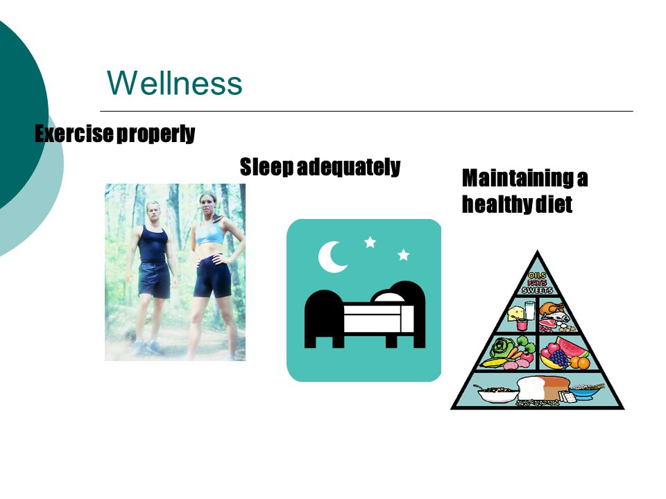 Wellness Exercise properly Sleep adequately Maintaining a healthy diet
