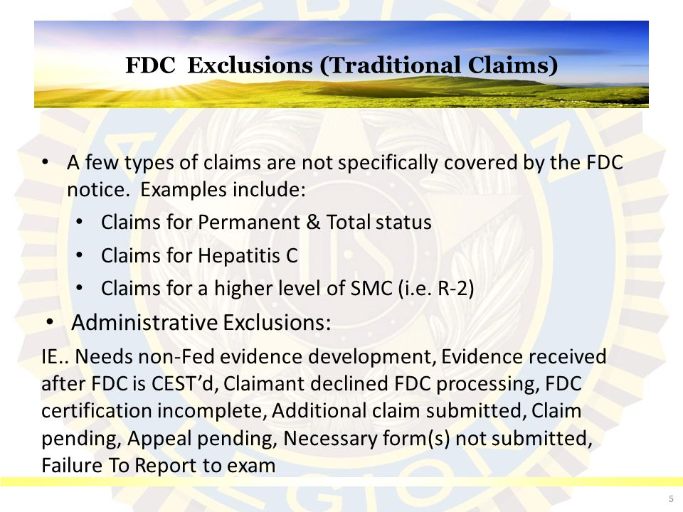 Calculating the one-year retroactive date If a claimant initiates an application for an original FDC compensation claim online on January 1, 2013, (considered the date of claim), but does not submit the completed electronic application until September 1, 2013, the effective date for any benefit awarded would be September 1, 2012, or one year from the date VA received the fully developed electronic claim.
