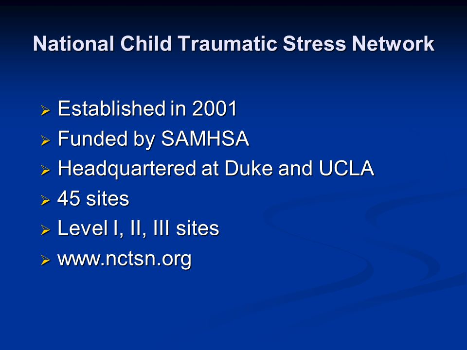 Limitations of PTSD Diagnosis Is not developmentally sensitive Is not developmentally sensitive Many traumatized children do not meet diagnosis or they meet diagnosis of partial PTSD.