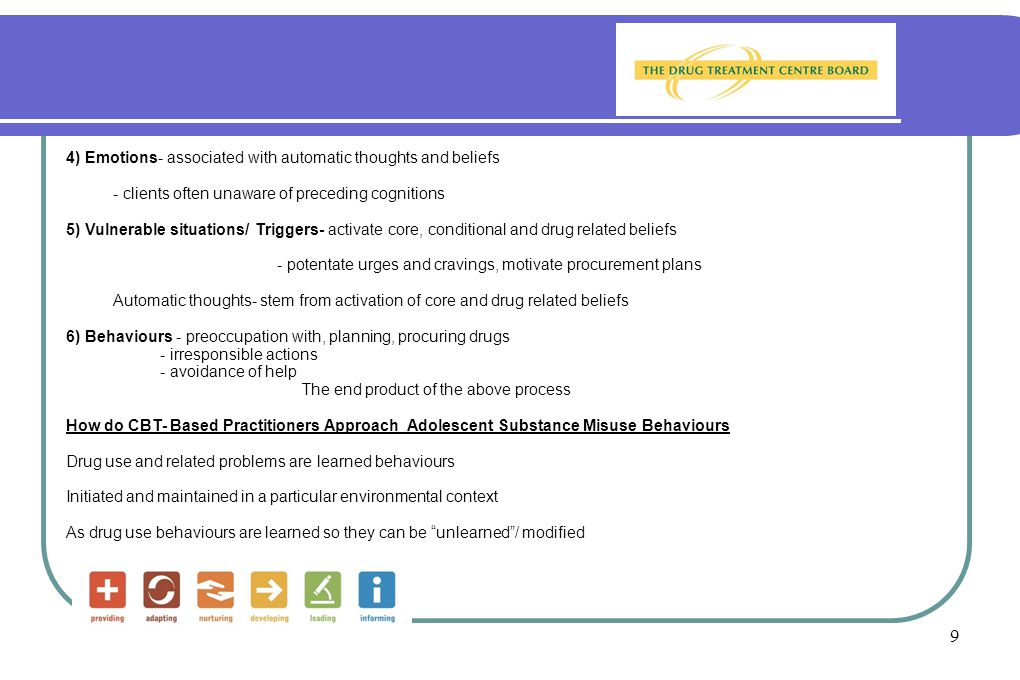10 Learning Principles salient to the genesis/ treatment of addiction: Operant conditioning- focus on important and particular reinforcers (+ and -) Drug taking behaviours very responsive to reinforcement contingencies Drug use behaviours develop and maintained in context of antecedents/ consequences of behaviour Physiological effects are powerful reinforcers (hedonistic and suppressive) Euphorogenic Dampening of rage Tension reduction- sedating/ relaxing Regulation of negative affect Enhanced social/ interpersonal interaction (perceived) Classical conditioning- pairing: paraphernalia, places, people, times, feelings associated with drug use Research has explored acquisition of Preferences/ Aversion/ Tolerance/ Urges/ Cravings Above model has given rise to development of interventions which: Help clients anticipate and avoid high-risk situations (Settings, times, places which serve as triggers or stimulus cues) Help client manage resultant urges and cravings (Techniques to promote self control, promote rewards from competing behaviours, coping skills training)