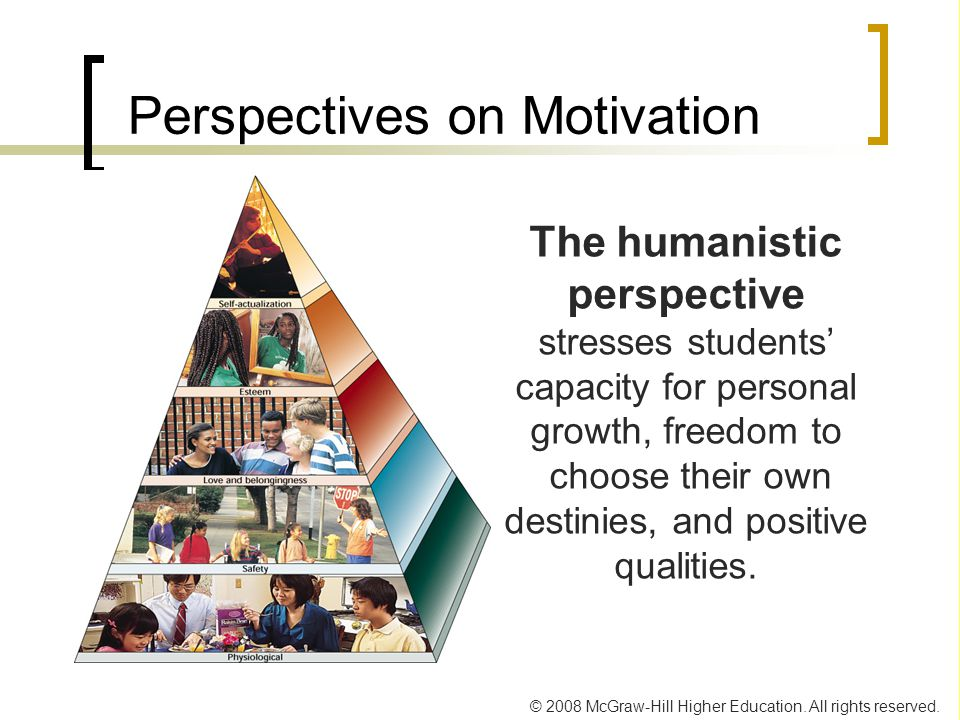 © 2008 McGraw-Hill Higher Education. All rights reserved. Perspectives on Motivation The humanistic perspective stresses students' capacity for person