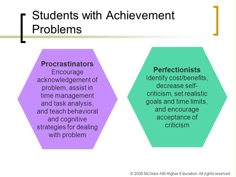 © 2008 McGraw-Hill Higher Education. All rights reserved. Students with Achievement Problems Perfectionists Identify cost/benefits, decrease self- cri