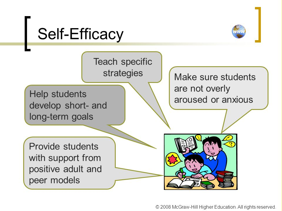 © 2008 McGraw-Hill Higher Education. All rights reserved. Self-Efficacy Make sure students are not overly aroused or anxious Provide students with sup