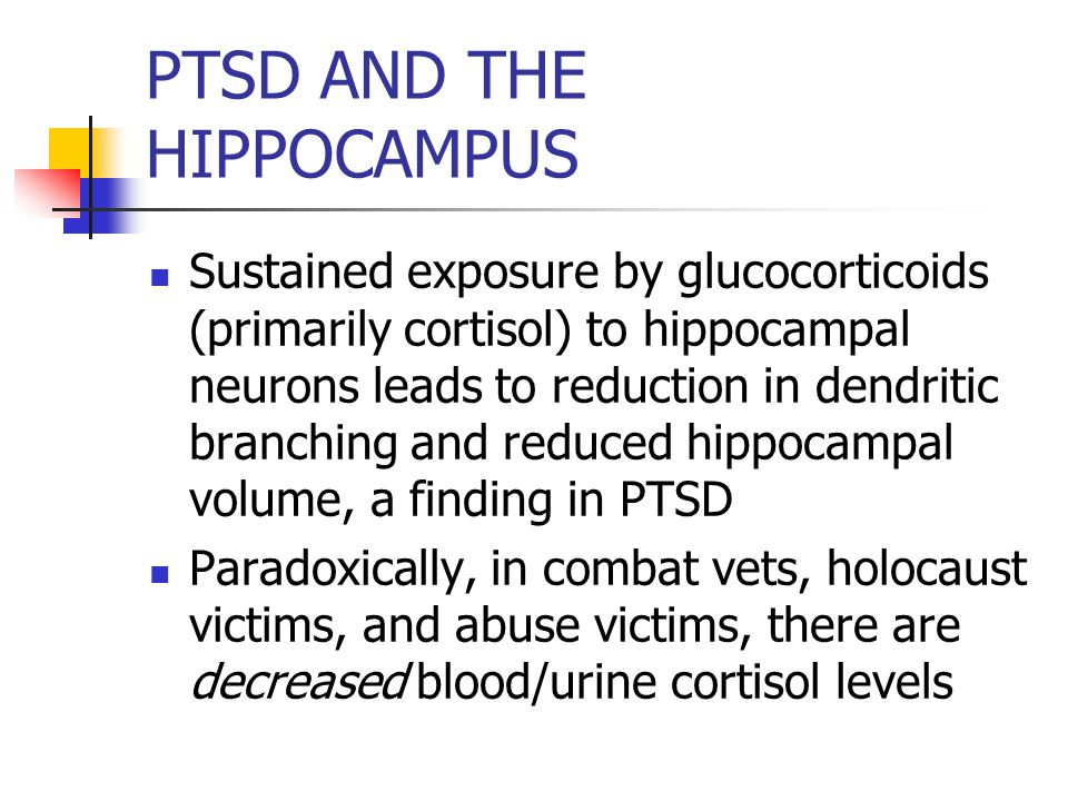 PTSD AND THE HIPPOCAMPUS Sustained exposure by glucocorticoids (primarily cortisol) to hippocampal neurons leads to reduction in dendritic branching and reduced hippocampal volume, a finding in PTSD Paradoxically, in combat vets, holocaust victims, and abuse victims, there are decreased blood/urine cortisol levels