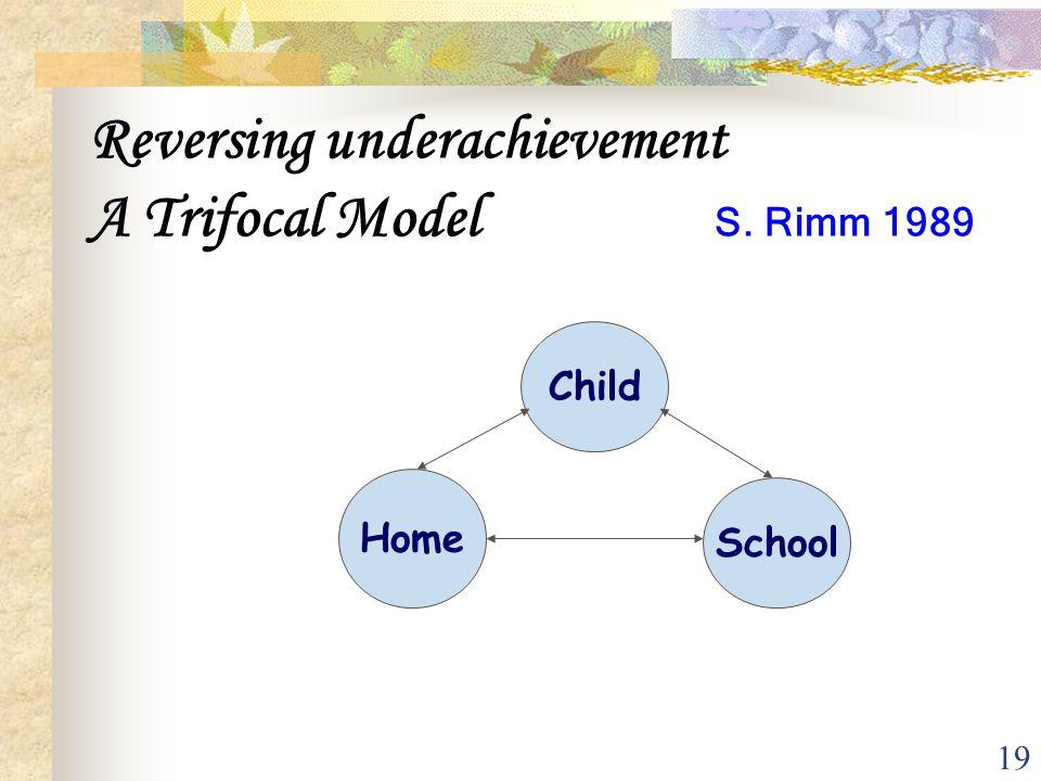 19 Reversing underachievement A Trifocal Model S. Rimm 1989 Child Home School