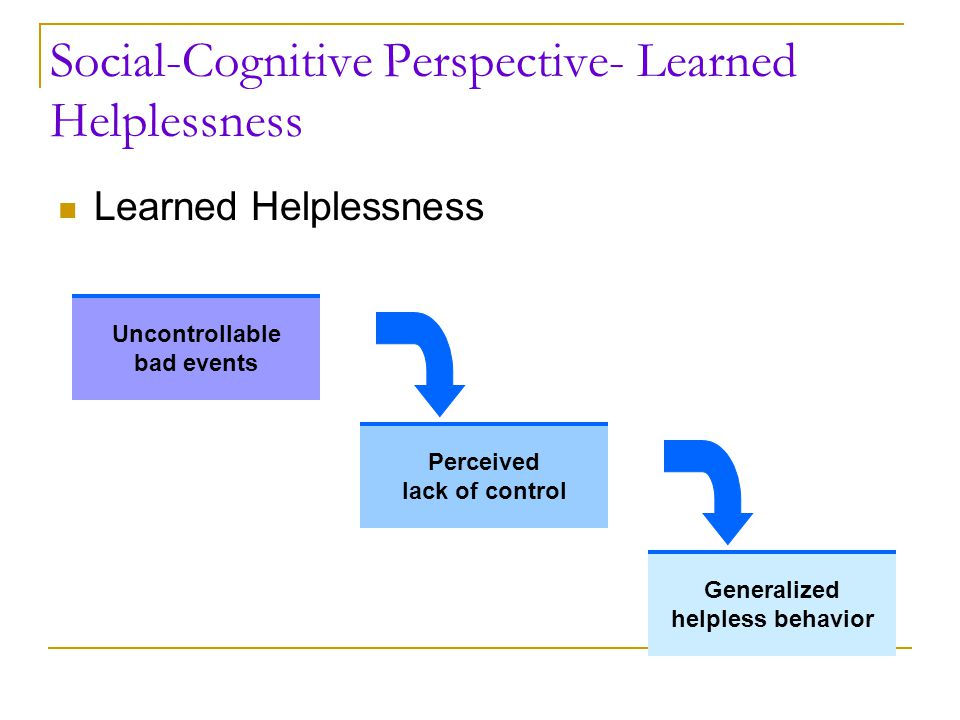 Social-Cognitive Perspective- Learned Helplessness Learned Helplessness Uncontrollable bad events Perceived lack of control Generalized helpless behav