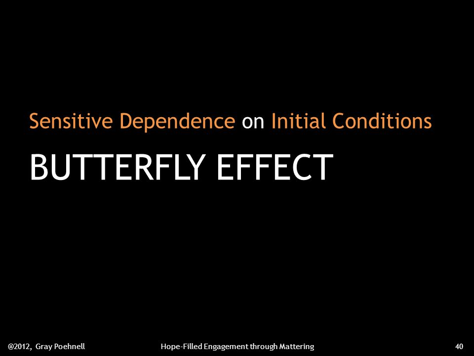 Sensitive Dependence on Initial Conditions BUTTERFLY EFFECT @2012, Gray PoehnellHope-Filled Engagement through Mattering40