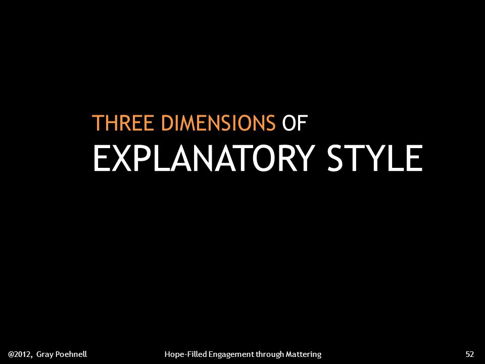 THREE DIMENSIONS OF EXPLANATORY STYLE @2012, Gray PoehnellHope-Filled Engagement through Mattering52