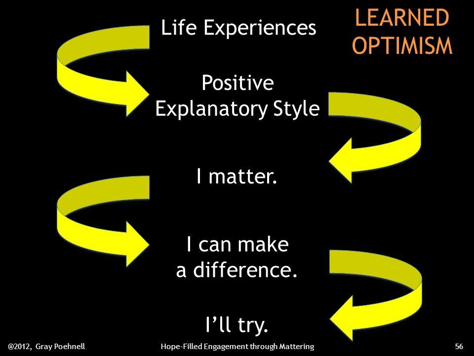 Life Experiences Positive Explanatory Style I matter.