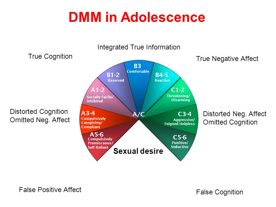 4th April 2005Crittenden & Wilkinson16 www.ssbu.no DMM in Adolescence False Positive Affect Integrated True Information True Cognition True Negative Affect False Cognition Compulsively Promiscuous/ Self-Reliant Comfortable B3 Reserved B1-2B4-5 Reactive A5-6 C5-6 C3-4 C1-2 Threatening/ Disarming Aggressive/ Feigned Helpless Punitive/ Seductive Compulsively Caregiving/ Compliant Socially Facile/ Inhibited A1-2 A3-4 A/C Distorted Cognition Omitted Neg.