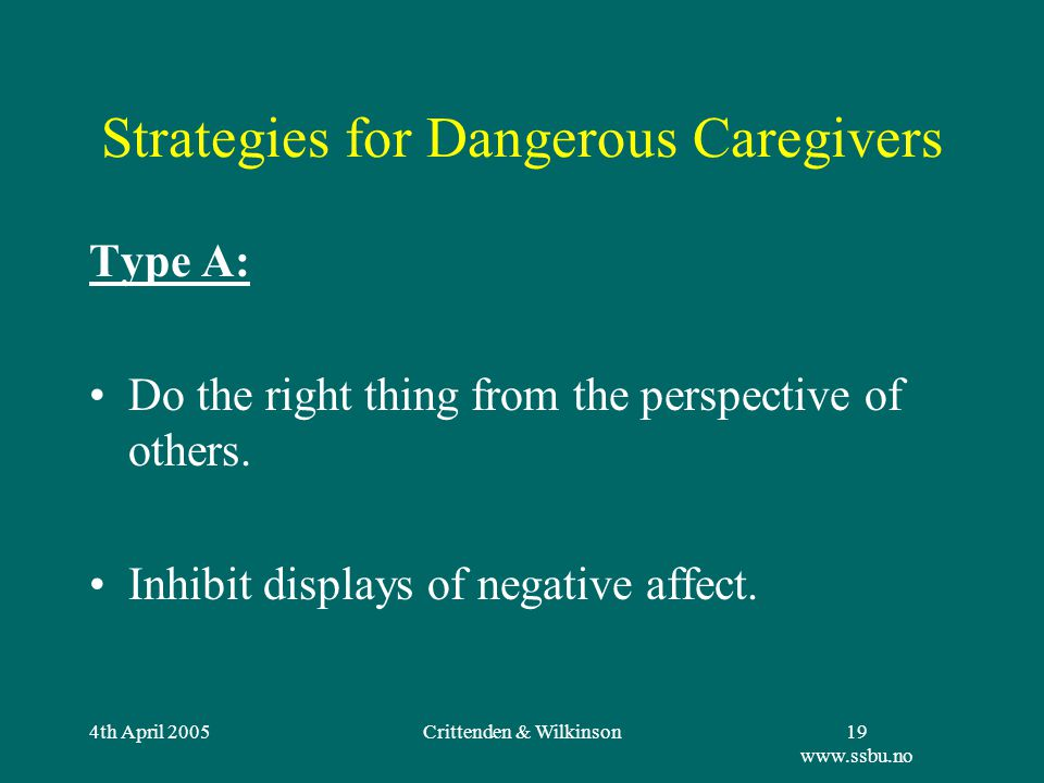 4th April 2005Crittenden & Wilkinson19 www.ssbu.no Strategies for Dangerous Caregivers Type A: Do the right thing from the perspective of others.