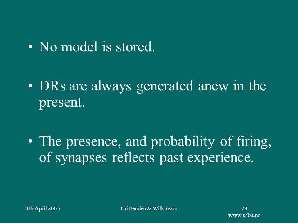 4th April 2005Crittenden & Wilkinson25 www.ssbu.no Parallel processing yields: –Many different DRs; –Each processed differently by the brain; –Multiple solutions to each problem.