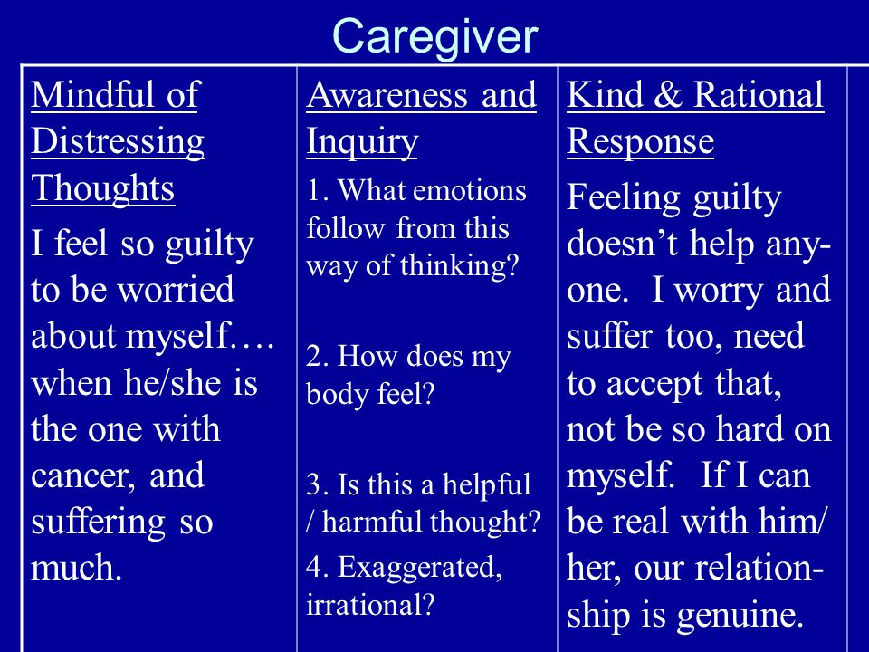 Caregiver Mindful of Distressing Thoughts I feel so guilty to be worried about myself….