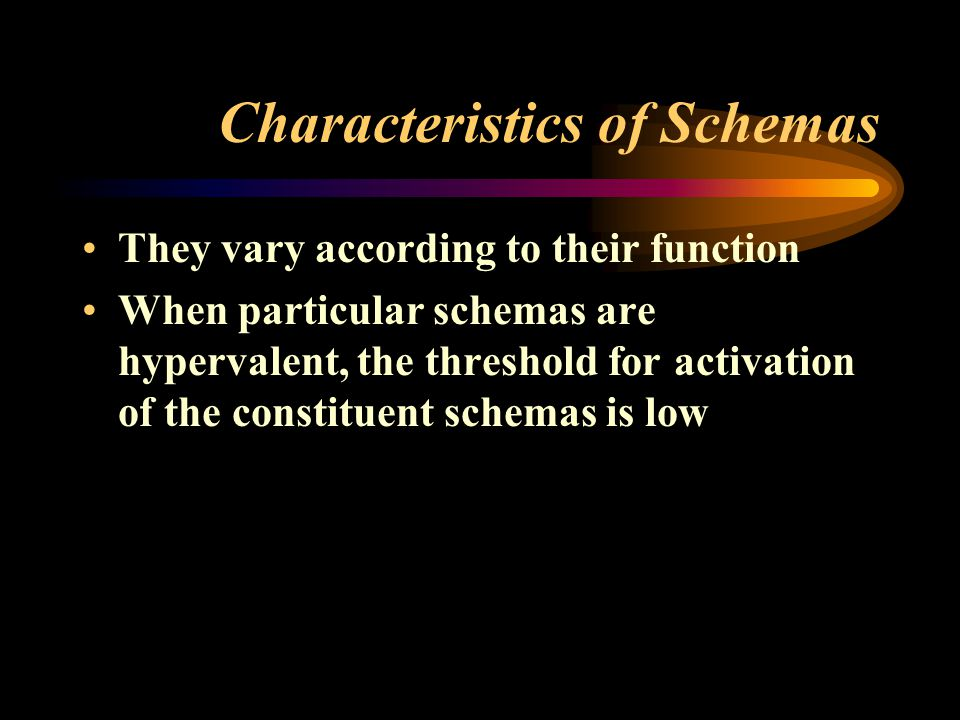 Characteristics of Schemas They vary according to their function When particular schemas are hypervalent, the threshold for activation of the constituent schemas is low