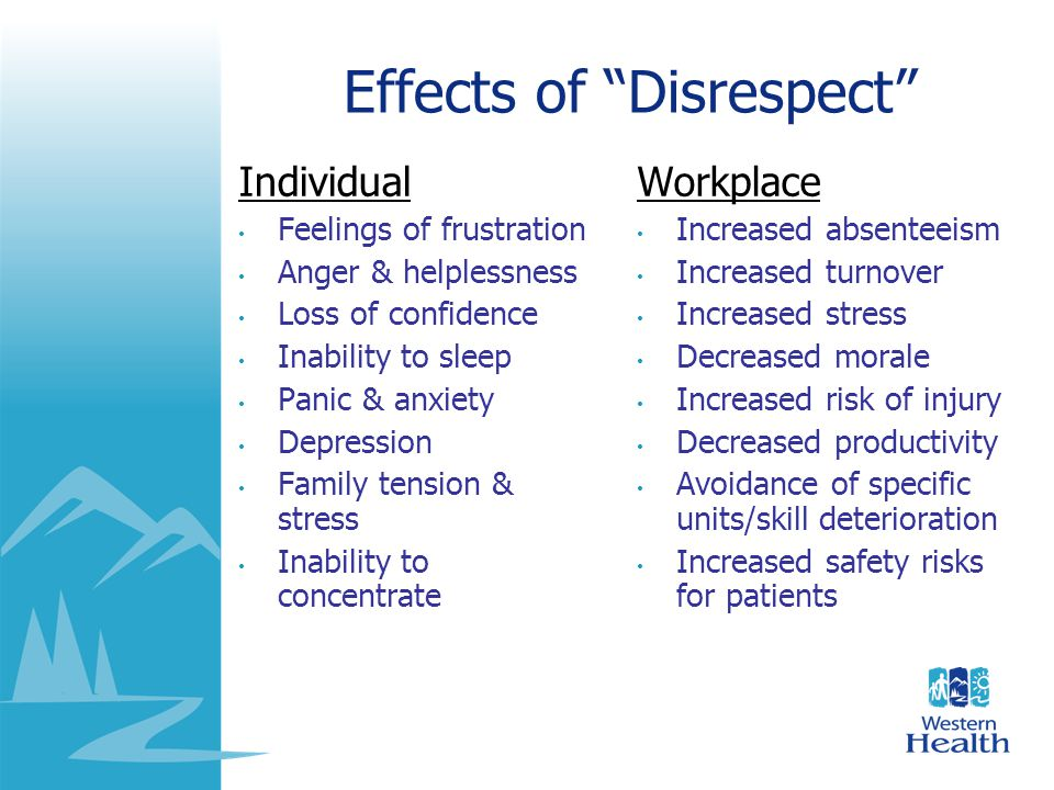 "Effects of ""Disrespect"" Individual Feelings of frustration Anger & helplessness Loss of confidence Inability to sleep Panic & anxiety Depression Famil"