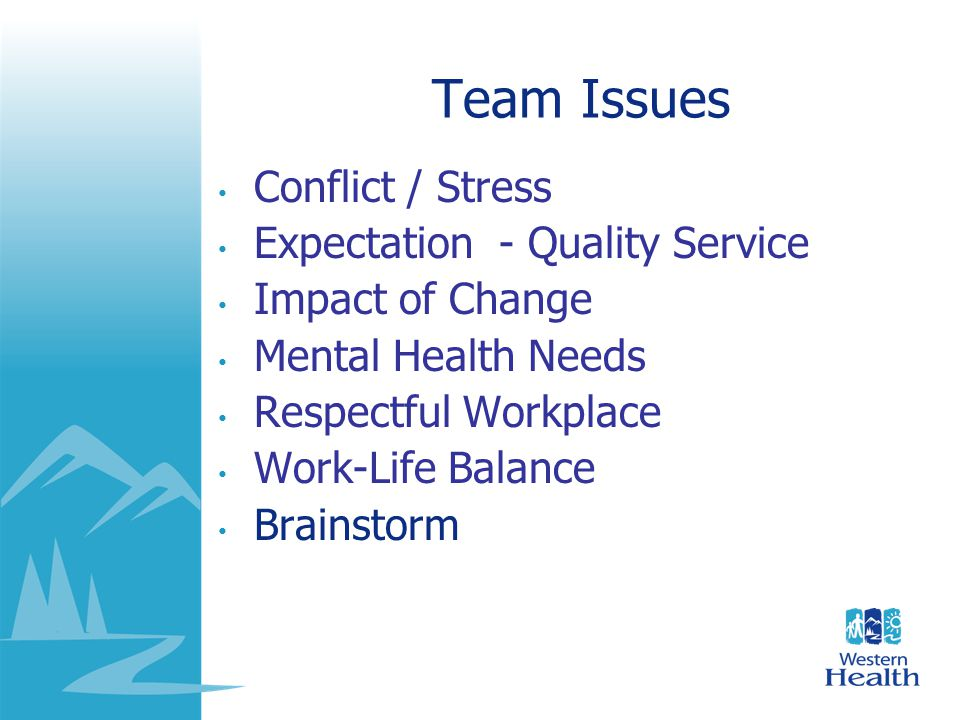 Team Issues Conflict / Stress Expectation - Quality Service Impact of Change Mental Health Needs Respectful Workplace Work-Life Balance Brainstorm