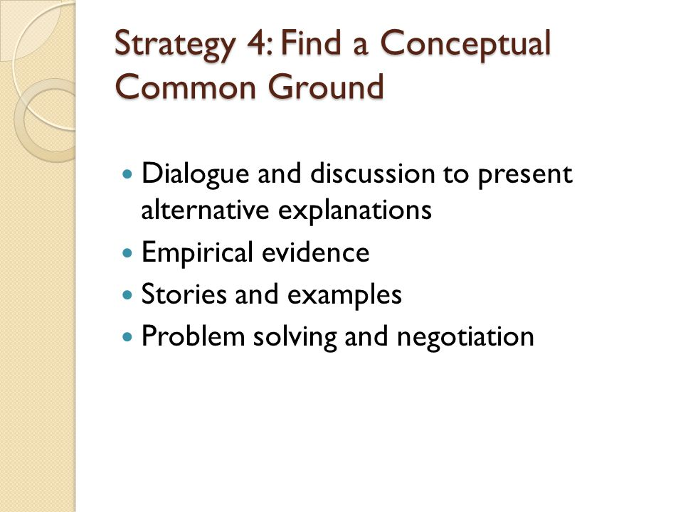 Strategy 4: Find a Conceptual Common Ground Dialogue and discussion to present alternative explanations Empirical evidence Stories and examples Problem solving and negotiation