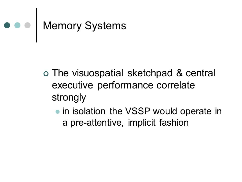 Memory Systems The visuospatial sketchpad & central executive performance correlate strongly in isolation the VSSP would operate in a pre-attentive, implicit fashion